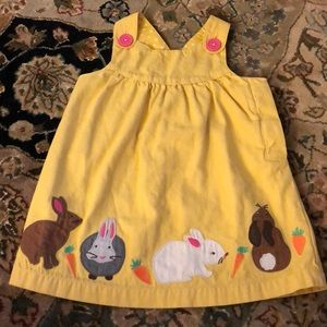 Baby boden pinnie with appliqué bunnies Easter